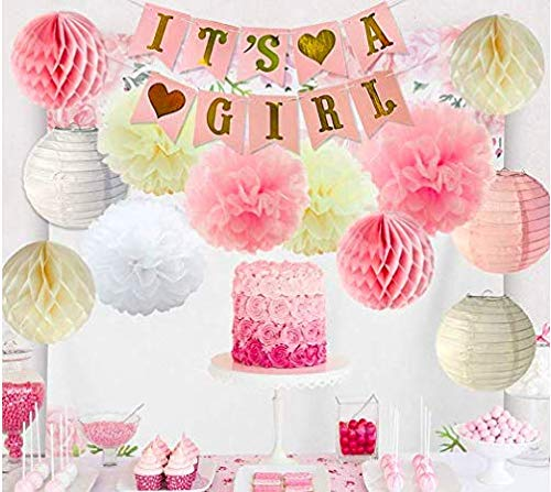 Its a Girl -Baby Welcome Banner Bunting & Garland Photo Booth Props Decoration