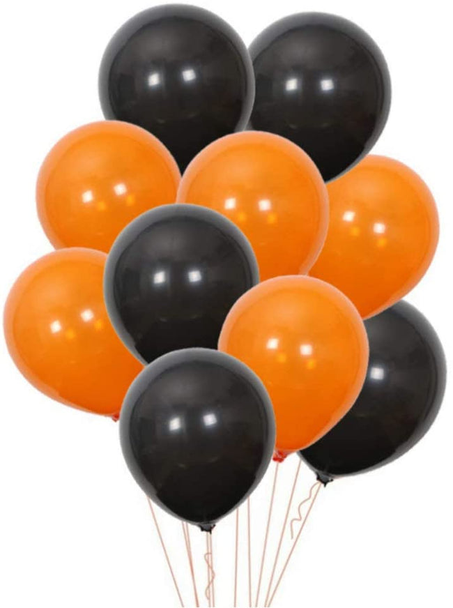 Black and Orange Latex Balloon for Birthday Parties, Halloween Decorations etc.