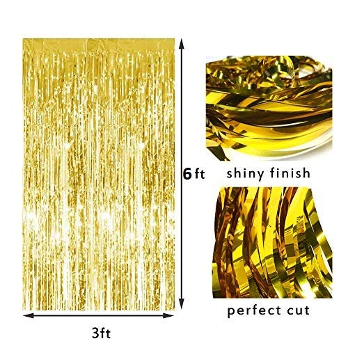 2pcs 3ft x 6ft Gold Metallic Tinsel Foil Fringe Curtains  for Birthday Wedding Engagement Bridal Shower Baby Shower Bachelorette Holiday Celebration Party Decorations