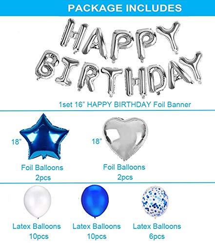 Baby Boy'S Happy Birthday Party Supplies Decorations Set With Star, Heart Foil, Latex, Confetti Balloons, Banner (Blue, Silver)