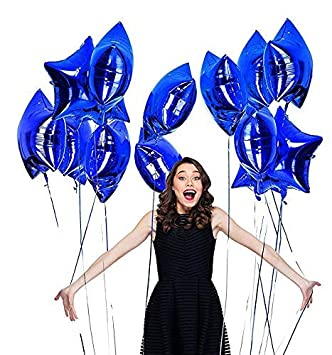 Birthday Decorations - Happy Birthday Banner Blue ,Stars  Blue and Metallic Blue Balloons