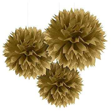 Golden Pom Pom flower Decoration  for birthday parties, Anniversary party & baby shower