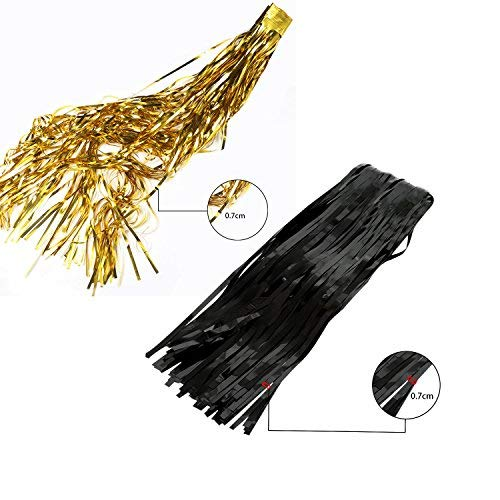 4 Packs 3ft x 6ft Black Gold Metallic Tinsel Foil Fringe Curtains Photo Booth Props for Birthday Wedding Engagement Bridal Shower Baby Shower Bachelorette Holiday Celebration Party Decorations