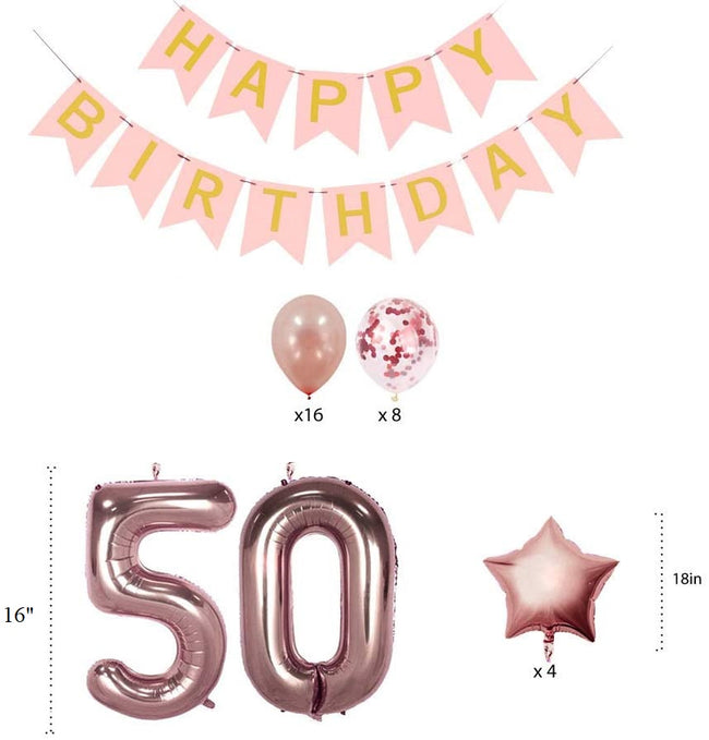 50th Birthday  Rose Gold Decorations Party Supplies Gifts for Women -  Happy Birthday Banner, 50 Number Foil Balloons,Star Foil Balloons   and Confetti Balloons