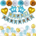 """Blue Birthday Decorations Set"" -Happy Birthday Banner,Latex Balloons, Pompoms Flowers, Star and Heart Foil Balloons"