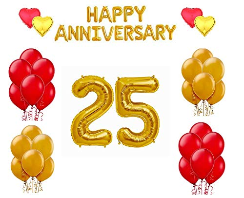 25th Anniversary combo -Happy Anniversary Letter Gold Foil Balloon + 25 Number Balloon+ Red & Gold Heart Foil Balloon+ Red & Gold Metallic Balloon(Combo of 25)