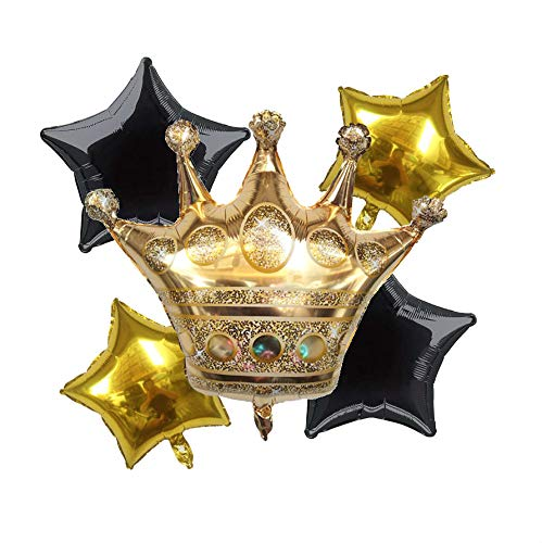 King Crown Foil  Party Balloon  and Stars Black +Gold -Set of 5