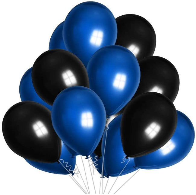 Metallic Blue  and Black Latex Balloon  for Birthday Parties