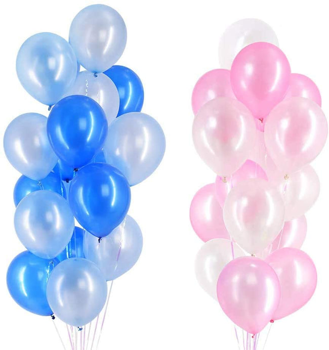 Latex Balloons Mix - Pack of 48 - Pink and Blue Baby Shower Party  Decorations