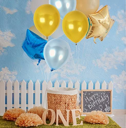 Metallic Golden and Blue  Balloons 9 Inch Thick  Latex Balloon  for Birthday Party ,Milestone Decorations,Prince Party