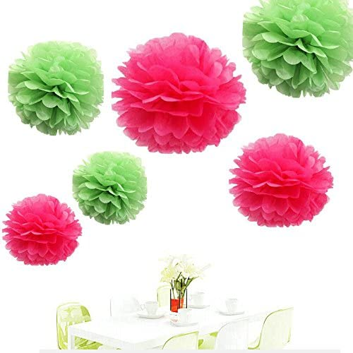 Pink and Green Pom Pom flower Decoration -Girl Baby Welcome, Girls  Birthday Party