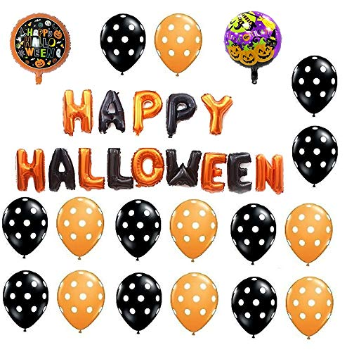 Halloween Balloons Kit[23 Pcs Decorations] -Foil,Polka and Foil Letter Balloons