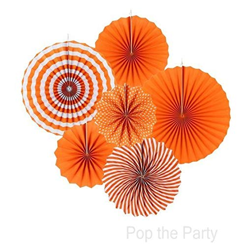 Paper Fans for Decoration Birthday Party Trend Party Fan for Wedding Birthday Showers - Orange and White (Pack of 6)
