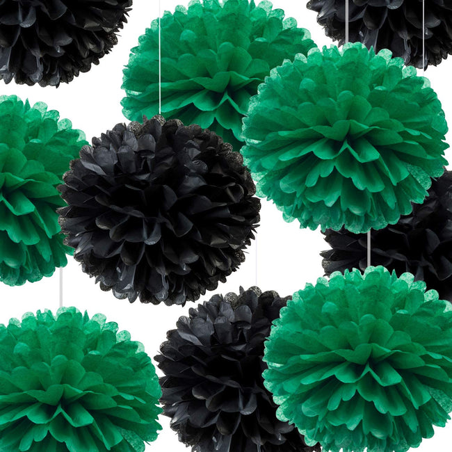 """Green and Black""  Pom Pom flower Decoration  for birthday parties, Anniversary party & baby shower"