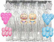 Silver Fringe Curtain , pink blue printed and polka balloons ,Star silver foil balloon decoration Combo-Baby Shower Decorations