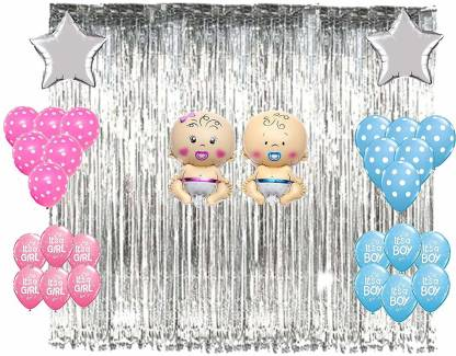 """Baby Shower Decorations Combo""-Silver Fringe Curtain , Printed and Polka Balloons ,Star Silver Foil Balloon"