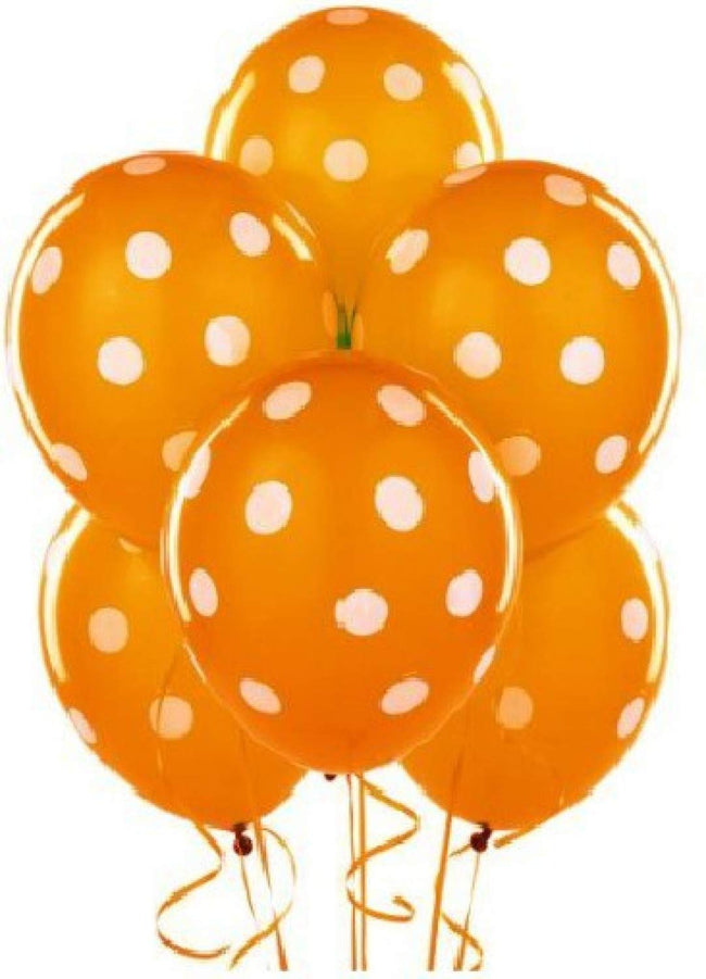 Orange  Color Polka Dot Party Balloons- Perfect for Birthday Parties,
