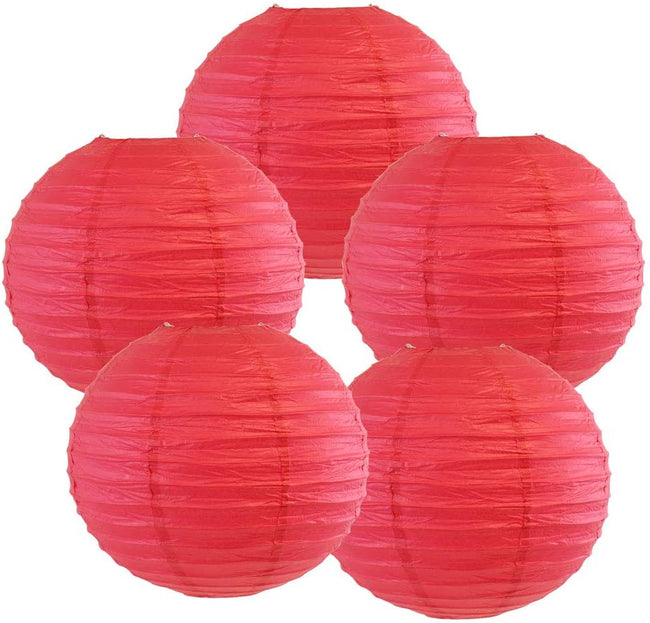 "Red Paper Lanterns -12""inch  GREAT FOR BIRTHDAY PARTIES, WEDDINGS ,BABY SHOWER AND FESTIVALS"