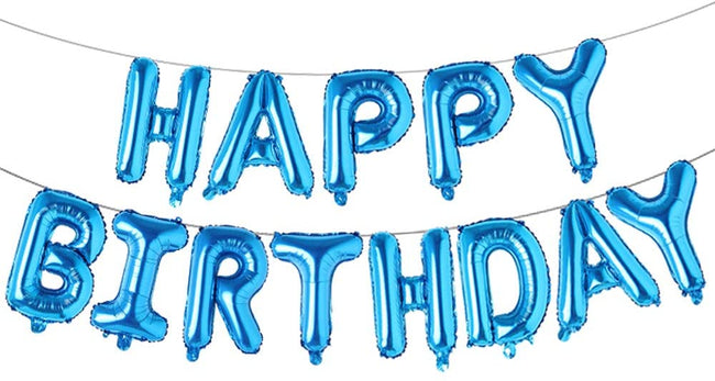 Blue Happy Birthday Foil Letter Mylar 16 inch Large Aluminum Balloon Banner for Kids and Adults Party Decorations