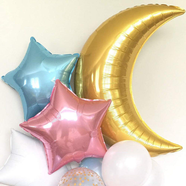 Twinkle Twinkle Little Star Gender Reveal Party Decorations 36Inch Gold Moon Foil Balloons 18Inch Pink and Blue Star Foil Balloons for Boy or Girl Baby Shower He or She Gender Reveal Party
