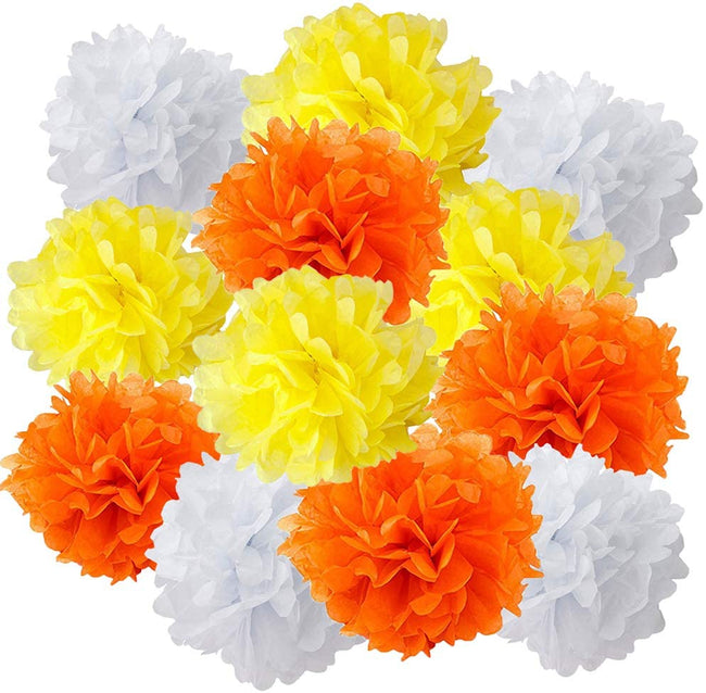 """Orange, Yellow and White""  Pom Pom flower Decoration  for birthday parties, Anniversary party & baby shower"