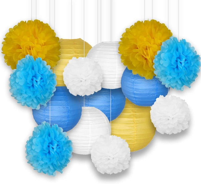Blue ,Yellow and White Tissue Paper Pom Poms and  Paper Lanterns -Birthday Party Decorations, Bridal Shower Decorations, Wedding Decorations, Baby Shower Decorations