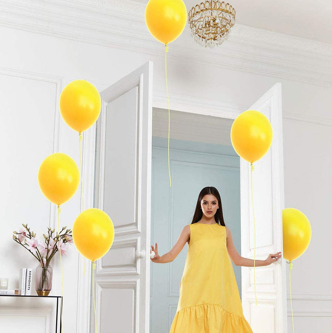 Metallic Balloons 9 Inch Thick  Yellow Latex Balloon Decoration Kit for Birthday Anniversary Party Supplies