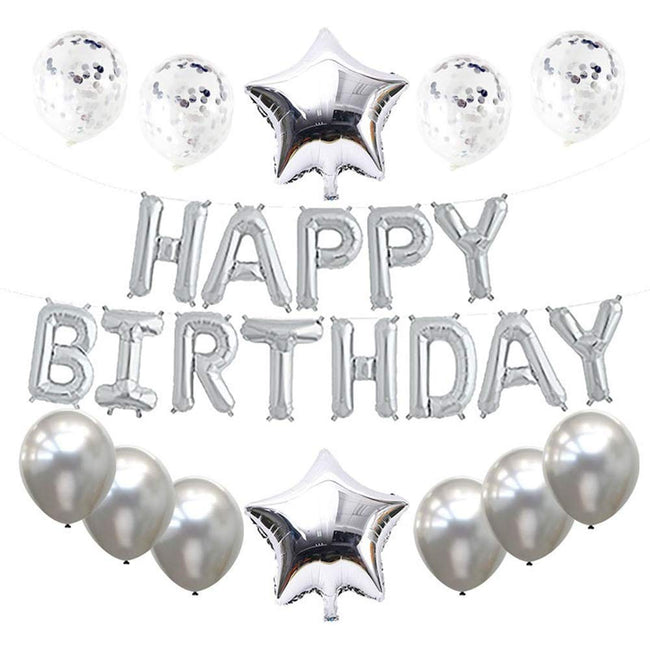 """Silver Decoration Kit""- Happy Birthday Letters Balloons, Star Foil Balloons ,Confetti Balloons and Latex Balloons"