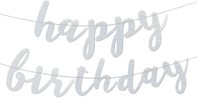 Happy Birthday Banner Cursive Letters - Silver Glittery