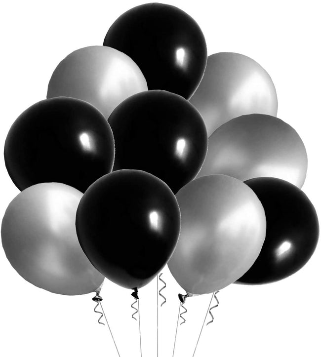 Metallic Black and Silver Latex Balloon (Pack of 50) for Birthday Parties, Graduation Party , Anniversary Party.