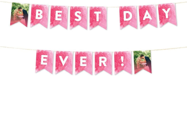 Pink Wedding Collection, Hanging Pennant Party Banner with String, Best Day Ever, 1 Set, Includes String