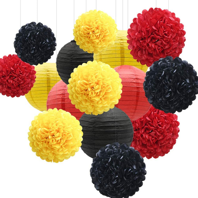Red Yellow and Black Tissue Paper Pom Poms and  Paper Lanterns -Birthday Party Decorations, Bridal Shower Decorations, Wedding Decorations, Baby Shower Decorations