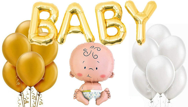 """Baby Welcome/Shower Balloons Kit""- Baby Foil Balloon, Latex Balloon, Baby Letter Foil"