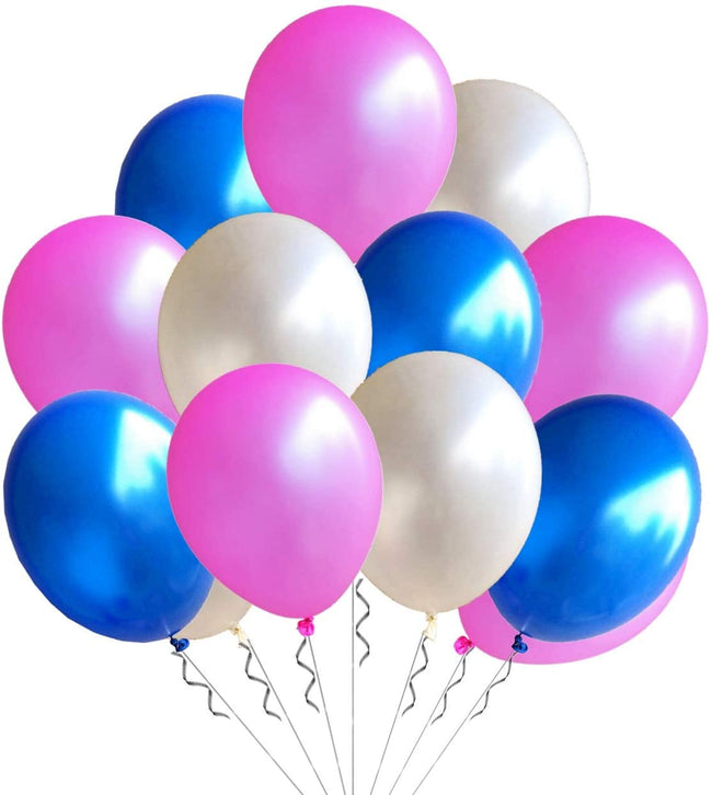 Metallic White, Blue  and  Pink Latex Balloon  for Birthday Parties, Baby Shower