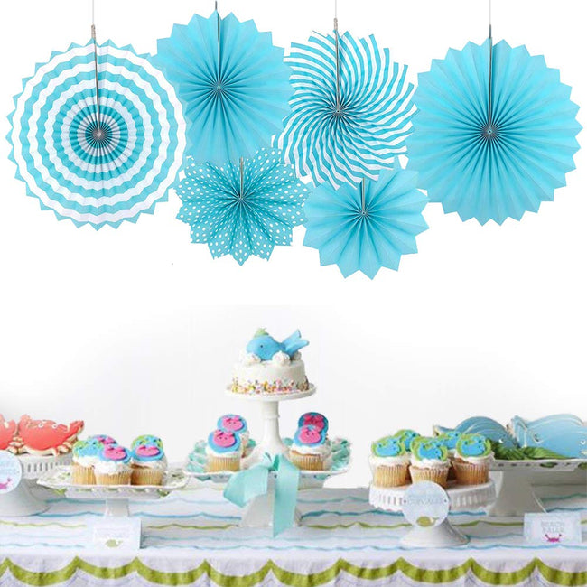 Paper Fans for Decoration Birthday Party Trend Party Fan for Wedding Birthday Showers - Blue and White (Pack of 6)