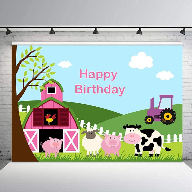 BARNYARD BIRTHDAY PARTY BACKDROP FOR PHOTOGRAPHY BANNER GIRL KIDS EVENT CAKE TABLE DECOR HOME DECORATION PHOTO BOOTH BACKGROUND