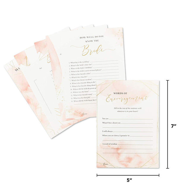 Bridal Shower Games (Set of 7 Games, 30 Cards Each Thick Cardstock) – Pink & Gold Theme - (Suitable for All Ages) - Perfect for Celebrating Any Bride-to-Be at A Wedding Shower