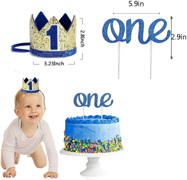 1st Birthday Decoration for Boy -Boy  First Birthday Decoration Including Number 1 Crown,one Burlap Banner High Chair Decoration and Cake Topper