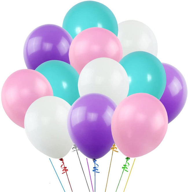 "White Pink  Dark Purple  Blue Assorted Balloons 9"" Latex Balloon for Party Bridal Baby Shower Mermaid Birthday Party Decorations(pack of 60)"