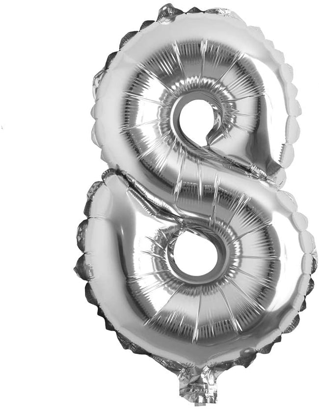 Silver digit Foil Birthday Party Balloon Number 8