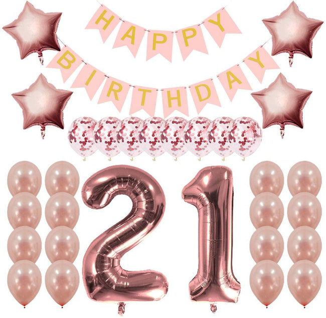 21st Rose Gold Birthday Decorations Party Kit-  Happy Birthday Banner, 21 Number and Confetti Balloons