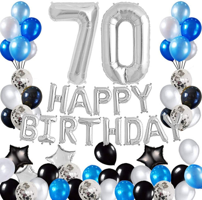 70th Birthday Decorations Birthday Party Supplies Set- Foil Happy Birthday Banner Foil Balloons Number 70 and Star Shape Balloons 47 pcs Latex Balloons Silvery and Blue