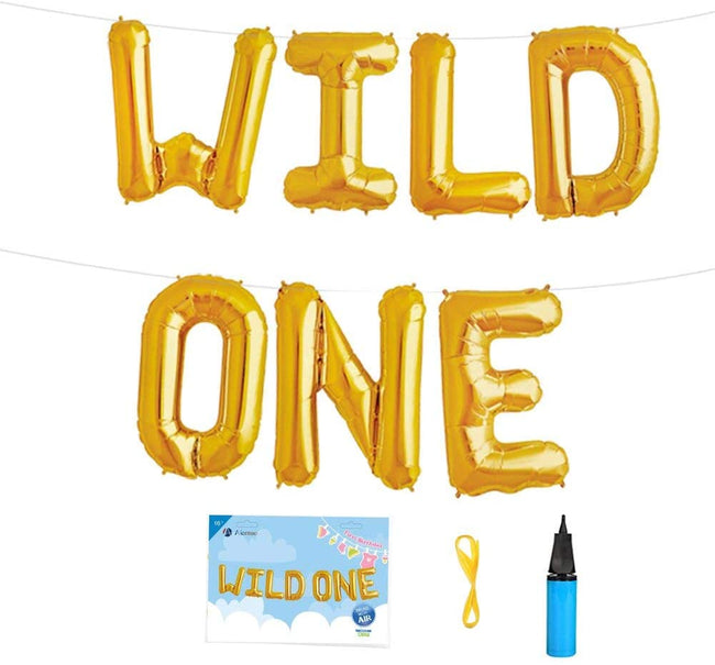 WILD ONE LETTER FOIL BALLOON & BALLOON PUMP -FIRST BIRTHDAY DECORATION