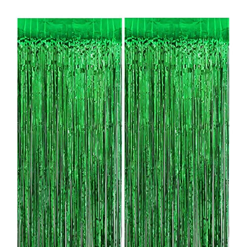 3ft x 6ft Green Metallic Tinsel Foil Fringe Curtains Photo Booth Props for Birthday Wedding Engagement Bridal Shower Baby Shower Bachelorette Holiday Celebration Party Decorations