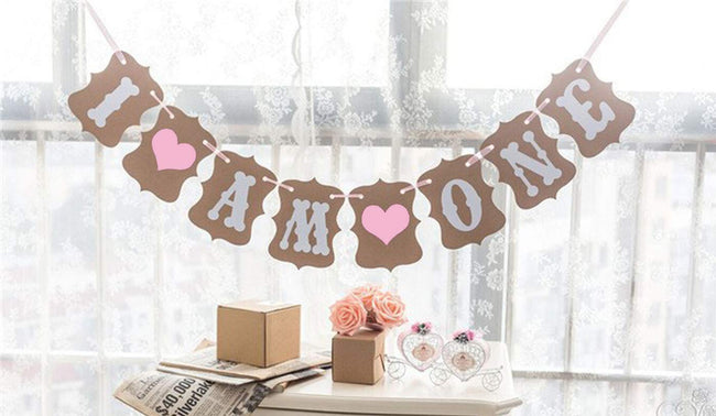 """I AM ONE "" First Birthday Girl  Banner , Bunting & Garland Photo Booth Props Decoration"