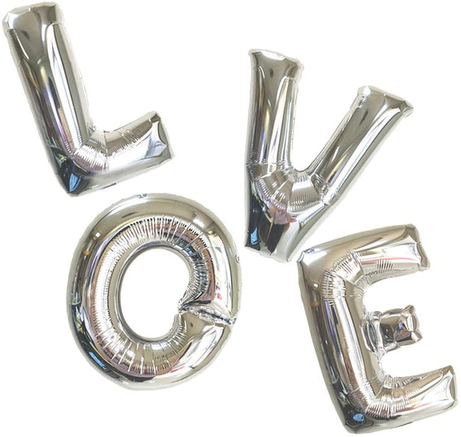 LOVE Silver Foil Letter Balloons - Valentines Day Decorations Balloons - Perfect for Engagements, Bridal Showers & Weddings,Anniversary