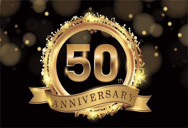 Happy 50th Anniversary Backdrop-Party Anniversary Celebration Backgrounds