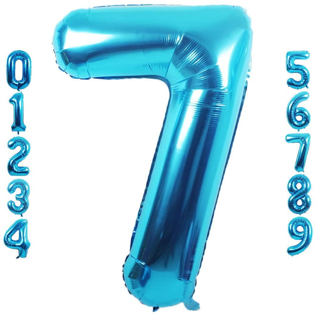Blue digit Foil Birthday Party Balloon Number 7