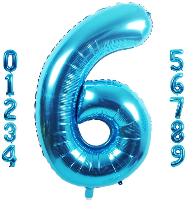 Blue digit Foil Birthday Party Balloon Number 6