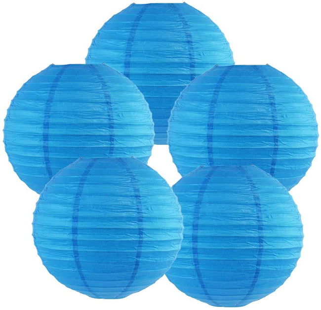 "Blue Paper Lanterns -12""Inch Great For Birthday Parties, Wedding Or Baby Showers."